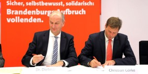 Dietmar Woidke Ministerpräsident Brandenburg SPD und Christian Görke Finanzminister Brandenburg